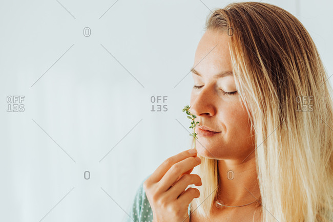 Close up of a woman smelling thyme, aromatic herbs on plain background