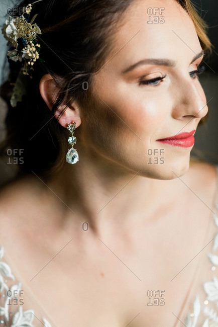 A portrait of a bride before her wedding ceremony