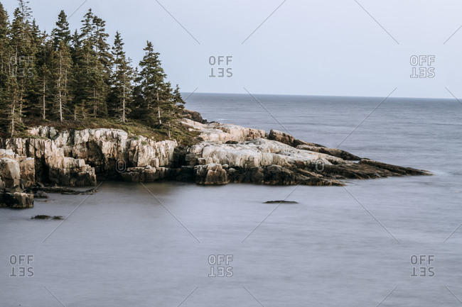 Long exposure of jagged Maine coastline, Acadia National Park.