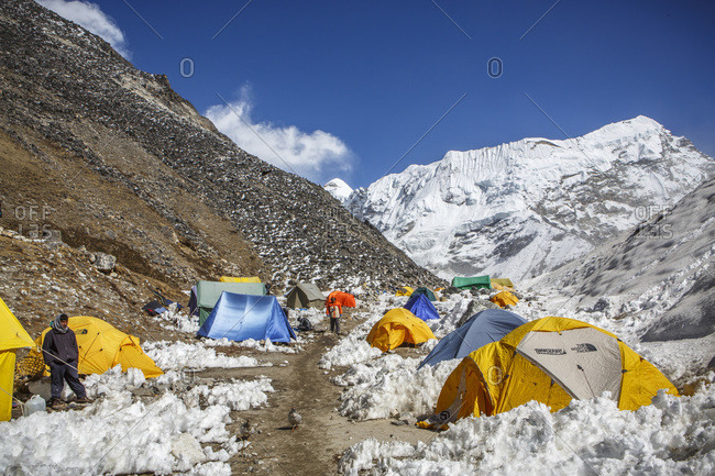 Kathmandu, Central Development Region, Nepal - November 3, 2013: Base camp on Island Peak in Nepal's Khumbu Valley.