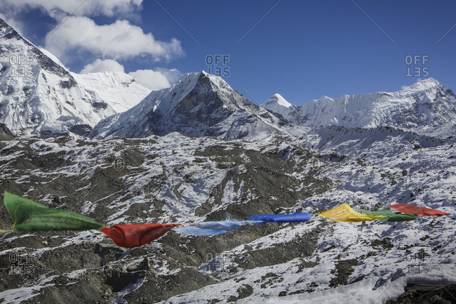 Island Peak seen past prayer flags in Nepal's Khumbu Valley.