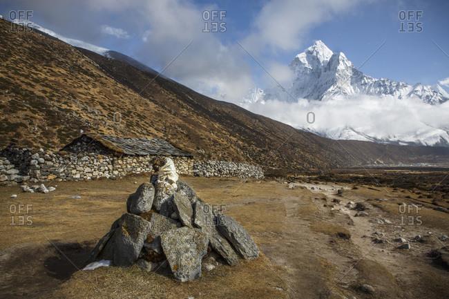 Prayer stones on the floor of the Khumbu Valley in Nepal.
