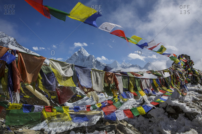 Prayer flags in front of Ama Dablam in Nepal's Khumbu Valley.