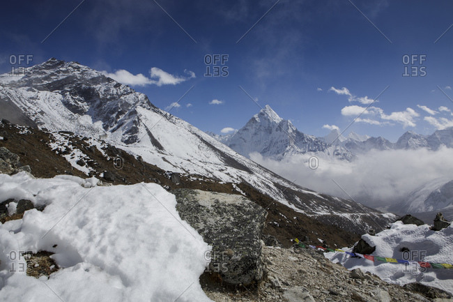 Ama Dablam seen from the trail to Everest Base Camp in Nepal.