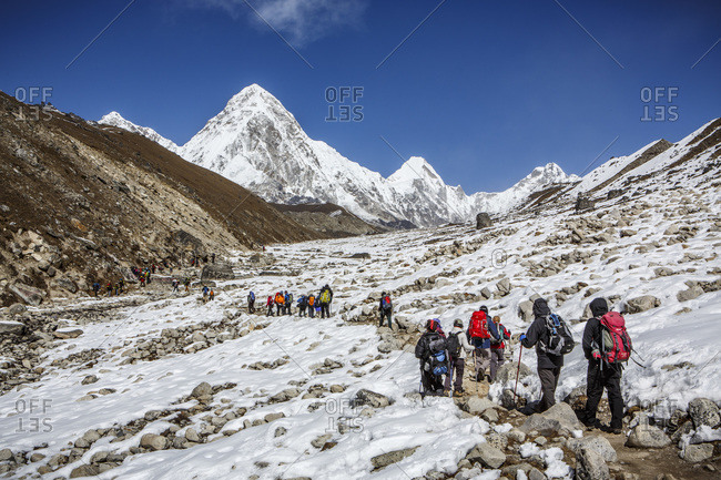 Hikers on the trail to Mt Everest Base Camp in Nepal.