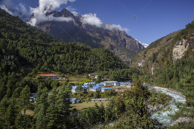 Kathmandu, Central Development Region, Nepal - October 24, 2013: A village in Nepal's Khumbu Valley near the trail to Everest Base Camp