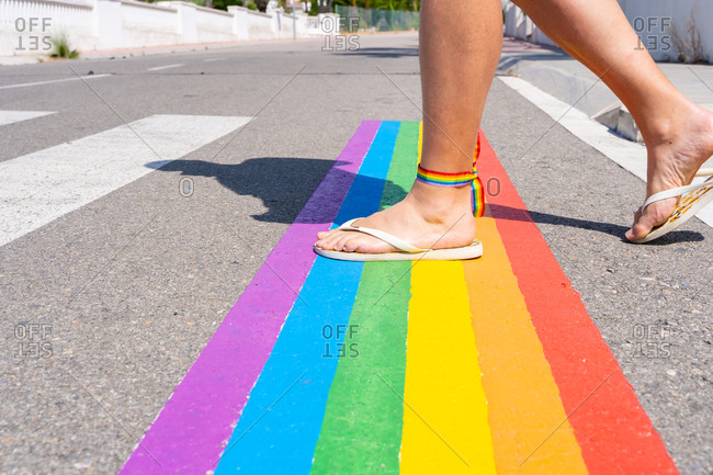 Proudly gay man crossing the street
