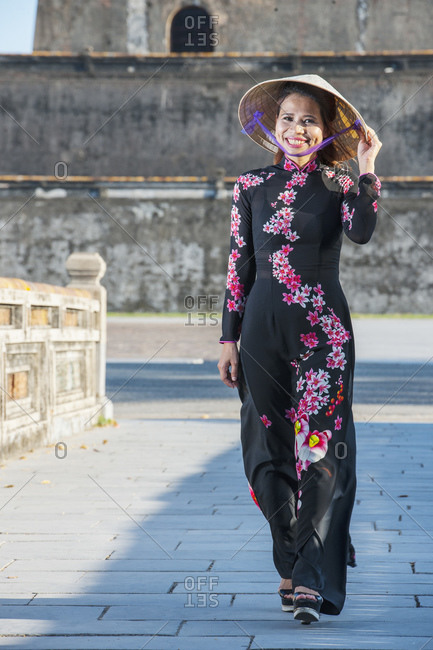 Beautiful woman at the imperial fortress in Hue / Vietnam