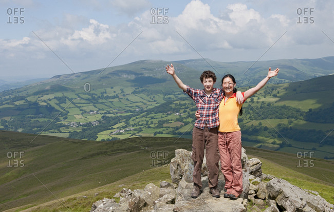 Mother and son on top of hill in south Wales