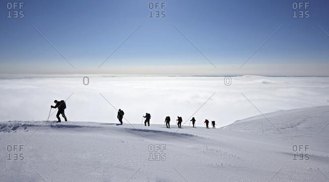 Skaftafell, Iceland - April 18, 2009: mountaineers approaching Hvannadalshnukur - Iceland highest mountain