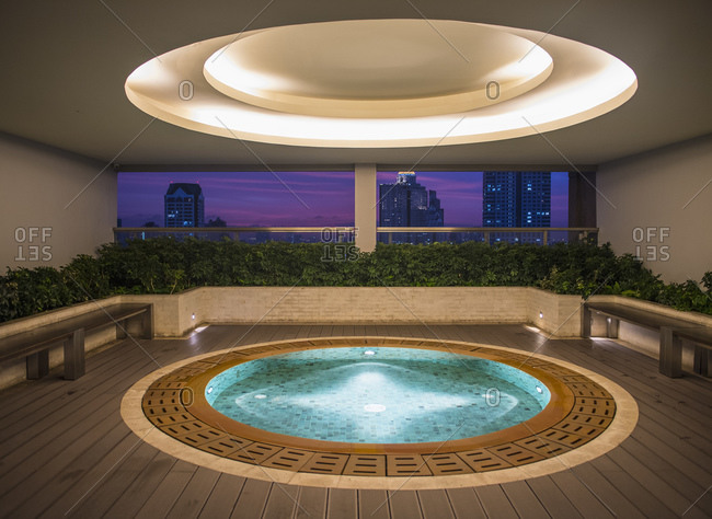 Hot tub on a luxury condominium rooftop in Bangkok