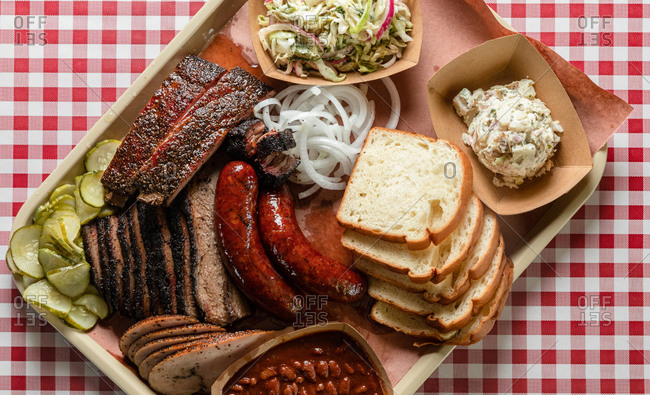 Barbecue Tray Full of Smoked Meats