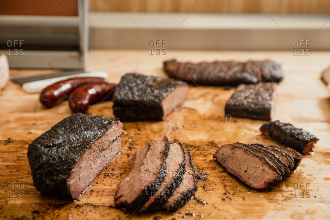 Cutting Smoked Meats at a Barbecue Restaurant