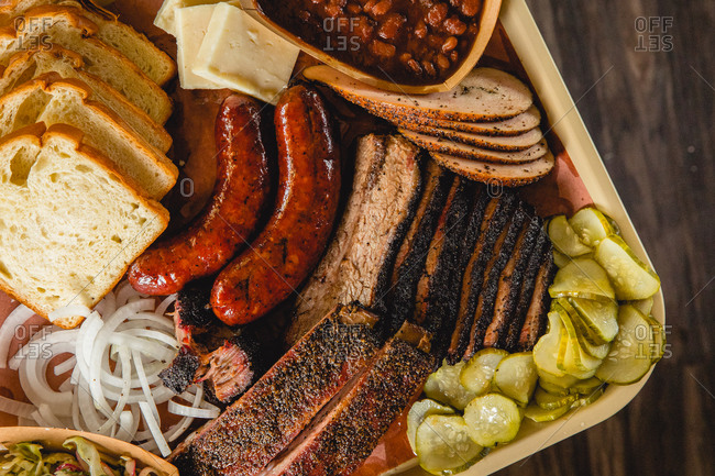 Top Down Shot of a Tray of Texas Barbecue