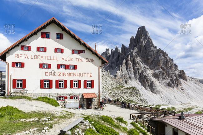 July 15, 2016: Rifugio Dreizinnenhuette in front of Paternkofel (2744m), UNESCO World Heritage, Dolomites, Alps, Alto Aldige, Tentino, South Tyrol, Italy