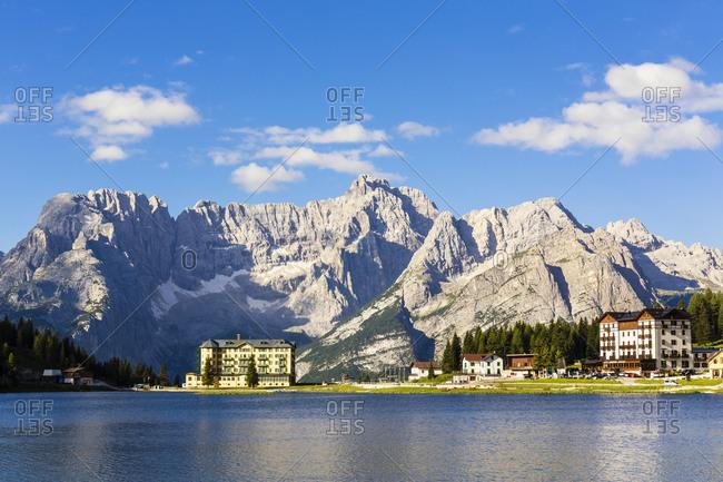 July 17, 2016: Misurina Lake in front of Mount Sorapis (3205m), Misurina, Dolomites, Alps, Alto Aldige, Tentino, South Tyrol, Italy