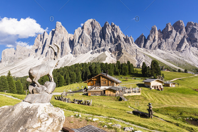 July 20, 2018: Geisler Alm in front of Geislerspitzen (3025m), Odle Mountains, St. Magdalena, Puez-Odle Nature Park, Alto Adige, Tentino, South Tyrol, Italy