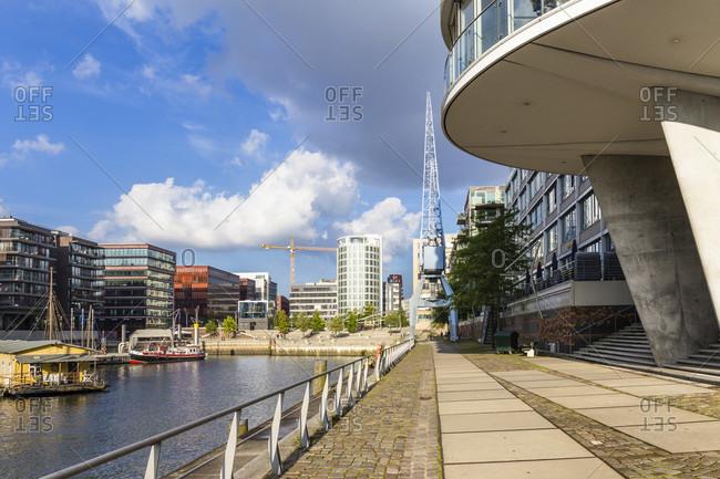 August 23, 2018: Modern Architecture at the Kaiserkai,  HafenCity, harbor, Hamburg, Germany