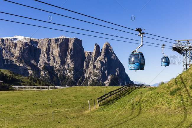 October 4, 2018: Ropeway in front of Mount Schlern (2563m), Seiser Alm, Alpe di Siusi, UNESCO World Heritage Site, Dolomites, Alps, Alto Adige, Tentino, South Tyrol, Italy