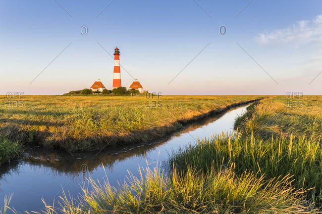 Westerhever Lighthouse, Westerhever, Schleswig-Holstein, Germany