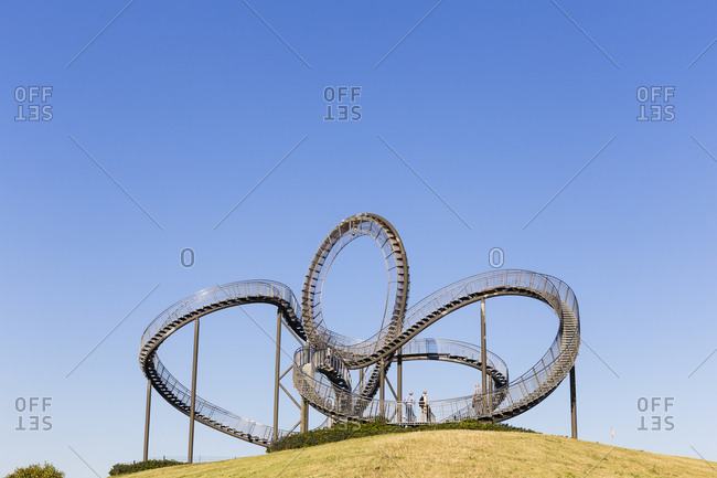 September 6, 2016: Tiger and Turtle, a pedestrian roller coaster sculpture on Magic Mountain, Duisburg, Ruhr area, Northrhine Westfalia, Germany
