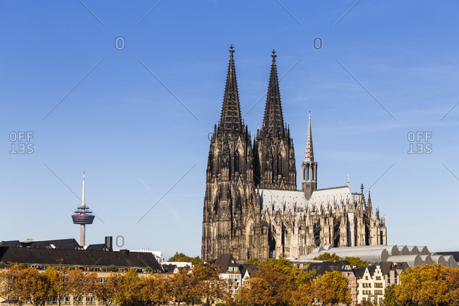 October 31, 2018: Cologne Cathedral (Dom) and TV tower in autumn, Cologne, Northrhine Westfalia, Germany
