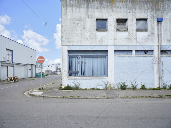 May 4, 2019: An abandoned warehouse at the port in Douarnenez in Brittany, France