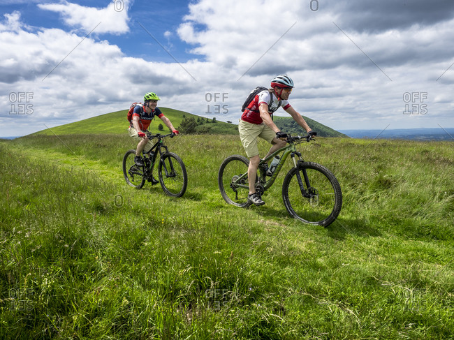 June 27, 2016: Mountain bike single trail at Puy Pariou (1209m) in the Massif Central in France.