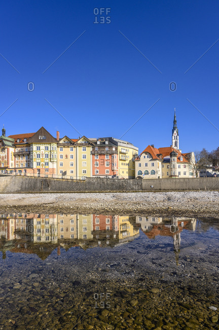 December 4, 2019: Germany, Bavaria, Upper Bavaria, Tolzer Land, Bad Tolz, town view, Isarfront with Marienstift