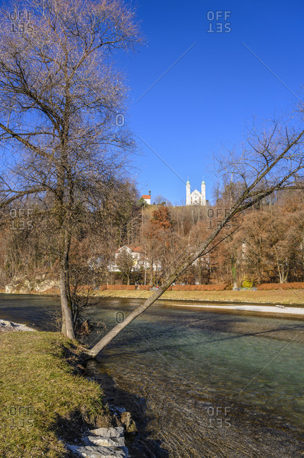 Germany, Bavaria, Upper Bavaria, Tolzer Land, Bad Tolz, Isar, Kalvarienberg with Holy Cross Church