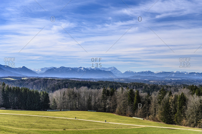 Germany, Bavaria, Upper Bavaria, Tolzer Land, Dietramszell, Peretshofen district, Peretshofer Hohe, view of alpine chain