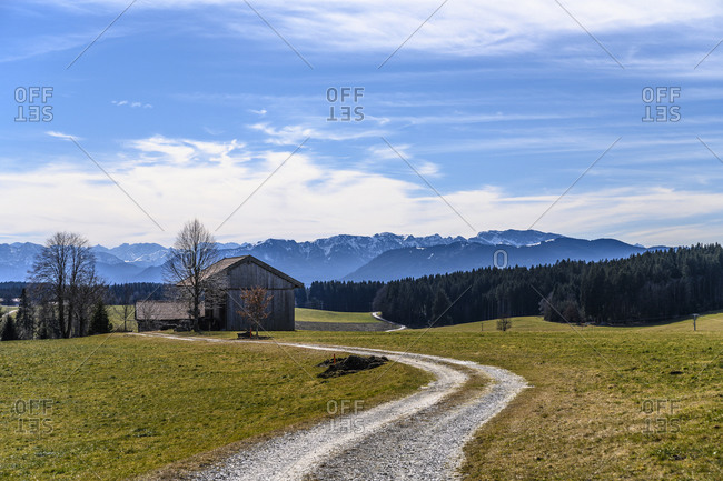 Germany, Bavaria, Upper Bavaria, Tolzer Land, Dietramszell, Humbach district, view of pre-Alps