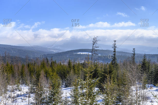 Germany, Bavaria, Lower Bavaria, Bavarian Forest, Mauth, Finsterau district, Buchwaldstrasse, view to the Bohemian Forest