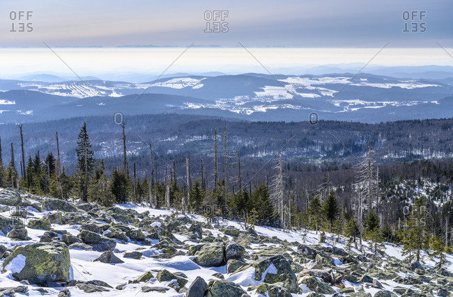 Germany, Bavaria, Lower Bavaria, Bavarian Forest, Neuschonau, district of Waldhauser, Lusen, view to the south with alpine chain