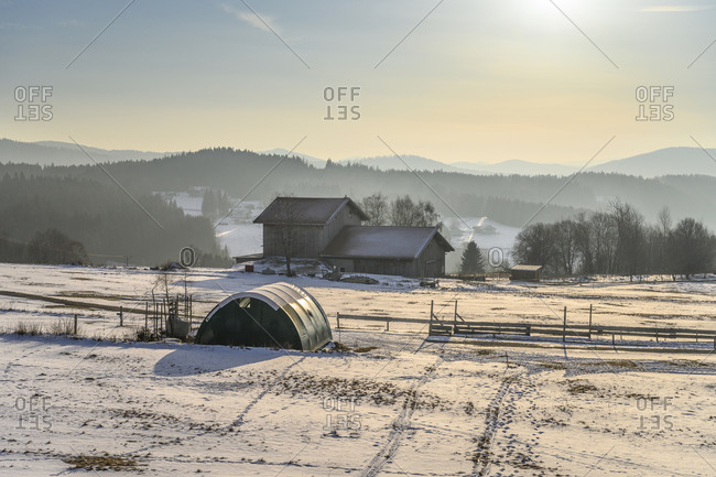 February 9, 2020: Germany, Bavaria, Lower Bavaria, Bavarian Forest, Mauth, Finsterau district, winter landscape