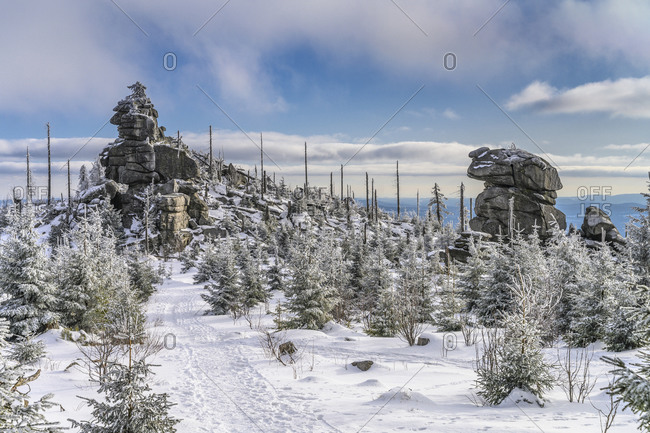 Germany, Bavaria, Lower Bavaria, Bavarian Forest, Neureichenau, Dreisesselberg, summit cliffs