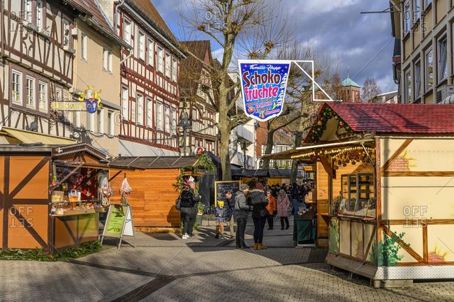December 14, 2019: Germany, Hesse, Odenwald, Bergstrasse, Bensheim, Christmas market