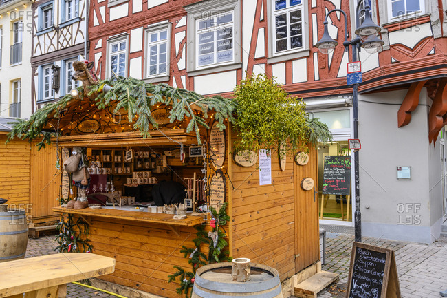 December 14, 2019: Germany, Hesse, Odenwald, Bergstrasse, Bensheim, Christmas market, mulled wine stand