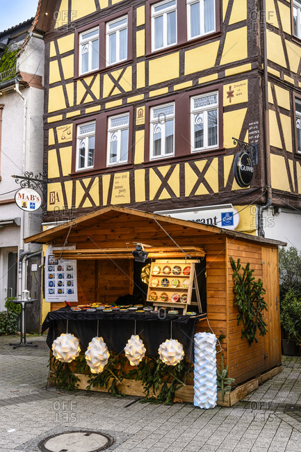 December 14, 2019: Germany, Hesse, Odenwald, Bergstrasse, Bensheim, Christmas market, gift items