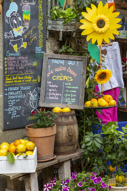 May 19, 2019: Market in Cinque Terre, La Spezia, Liguria, Italy