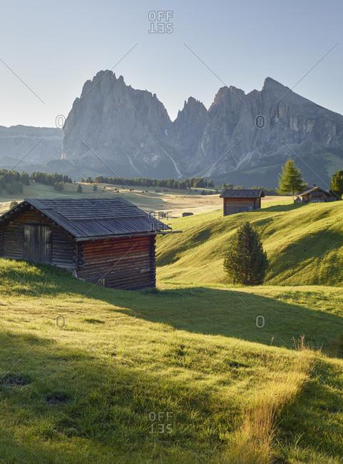 Sassolungo, alpine hut, Alpe di Siusi, South Tyrol, Italy