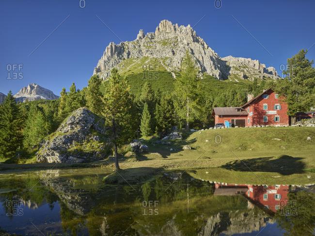 September 3, 2019: Small lake near the pass road, Casa Cantoniere, Sella Ronda, Sella Group, South Tyrol, Italy