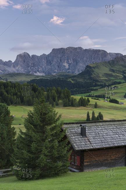 Alpine hut on the Alpe di Siusi, South Tyrol, Italy