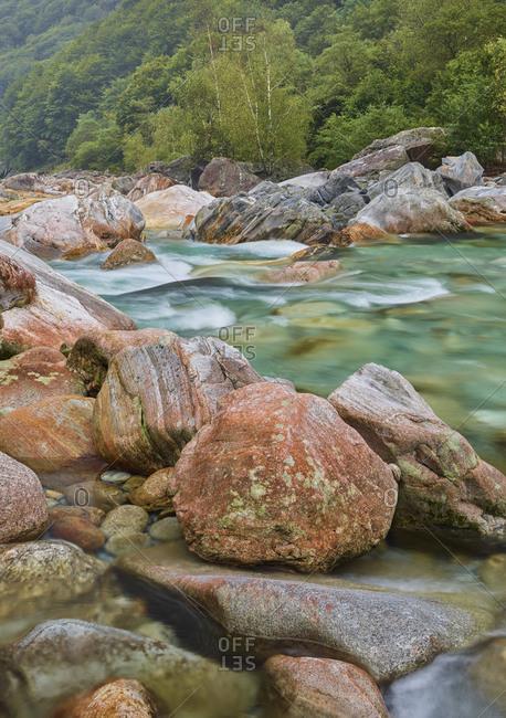 Rocks in the Verzasca Valley, Verzasca River, Ticino, Switzerland