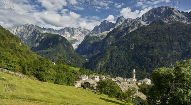 View of the village of Soglio, Bregaglia, Graubunden, Switzerland