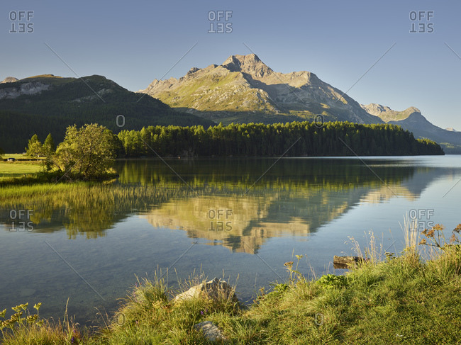 Lake Sils, Piz da la Margna, Engadin, Graubunden, Switzerland