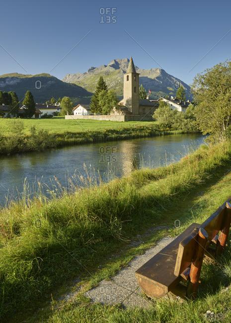 Church in Sils im Engadin, River Inn, Graubunden, Switzerland