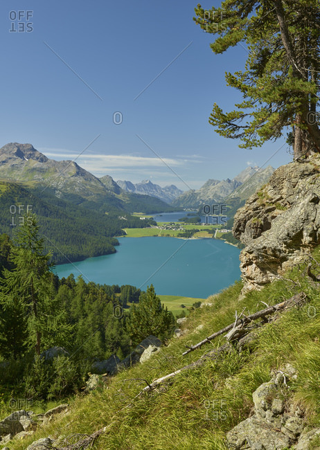 View of the Upper Engadine, Lake Silvaplana, Engadin, Graubunden, Switzerland