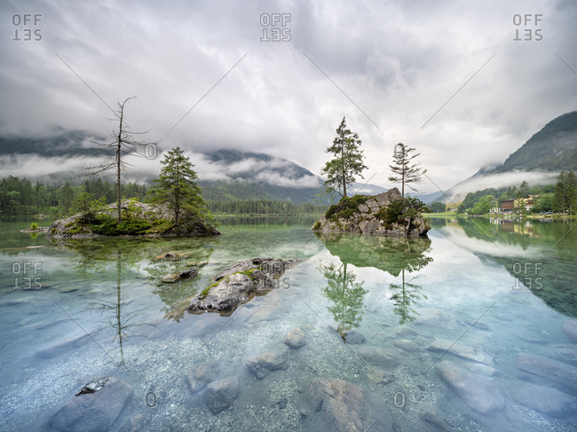 Germany, Bavaria, Berchtesgaden National Park, Am Hintersee, low-hanging rain clouds cover the mountains
