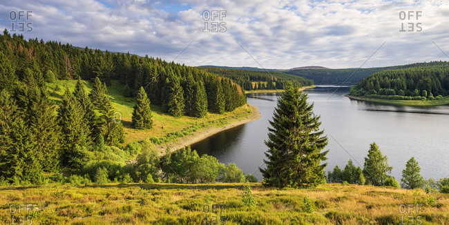 Evening mood at the Eckertalsperre, also Eckerstausee, drinking water dam, Harz National Park, Saxony-Anhalt, Germany
